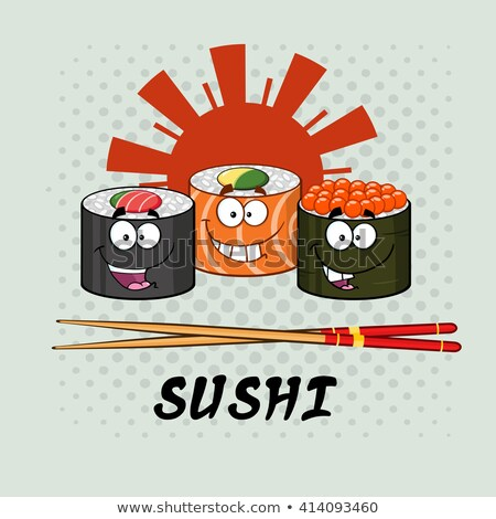 Sushi rodar establecer Cartoon palillos Foto stock © hittoon