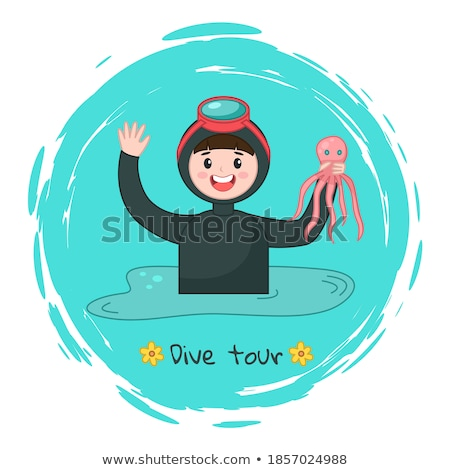 a man with a mask and snorkel is going to dive into the sea stock photo © galitskaya