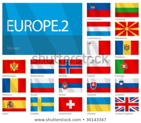 Stockfoto: Twee · vlaggen · Noorwegen · Rusland · geïsoleerd
