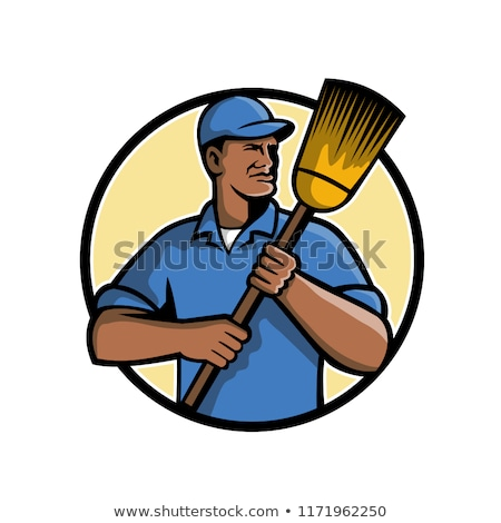 African American Street Sweeper or Cleaner Mascot Stock photo © patrimonio