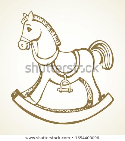 Schaukelpferd Swing Hand gezeichnet Gliederung Doodle Symbol Stock foto © RAStudio