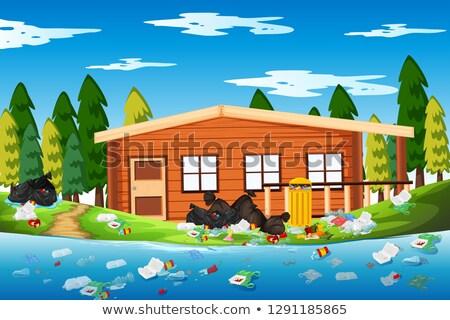 Litter in the log house Stock photo © bluering