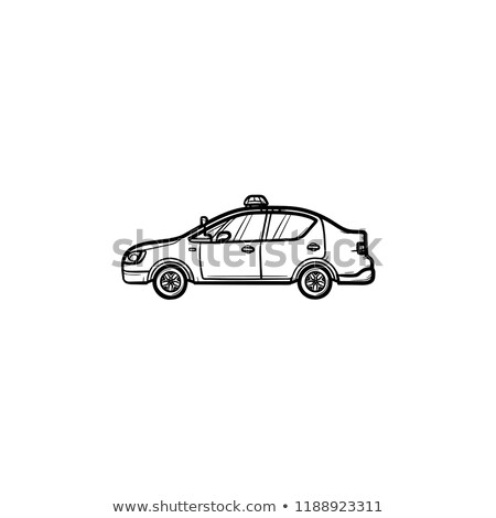 Police car with siren side view hand drawn outline doodle icon. Stock photo © RAStudio