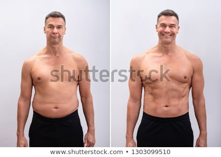 Mature Man Before And After Weight Loss On White Background Stock photo © AndreyPopov