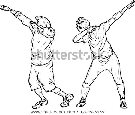boy doing dab cartoon illustration Stock photo © izakowski