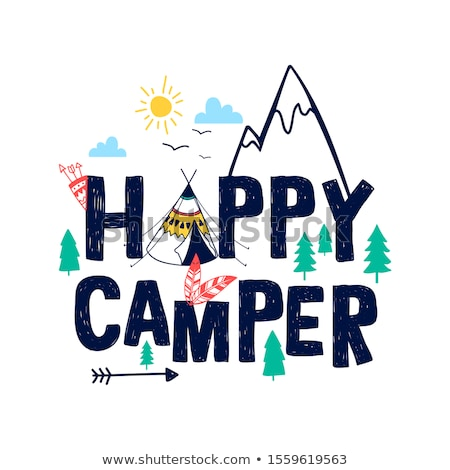 doodle graphic of camping kids stock photo © colematt