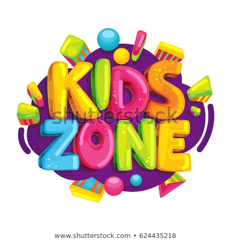 Kids zone vector cartoon logo. Colorful bubble letters for children playroom decoration. Inscription Stock photo © MarySan