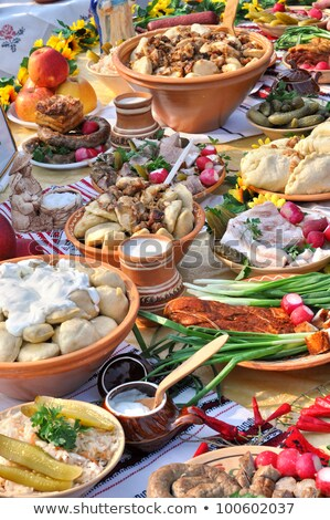 Assortment of traditional Ukrainian  food Stock photo © furmanphoto