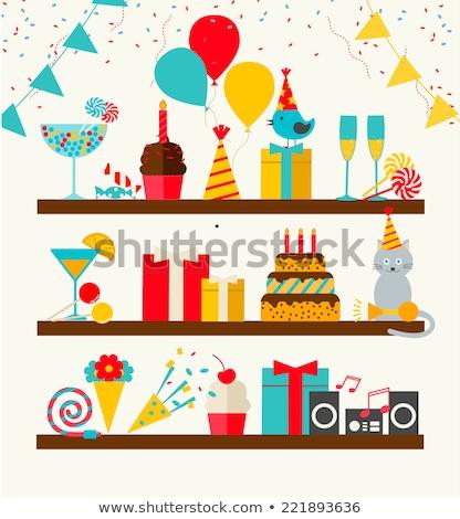 gyertyák · születésnapi · torta · ikonok · izolált · iskola · születésnap - stock fotó © netkov1