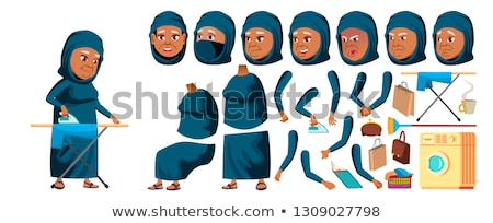 Arab, Muslim Old Woman Vector. Senior Person Portrait. Elderly People. Aged. Animation Creation Set. Stock photo © pikepicture