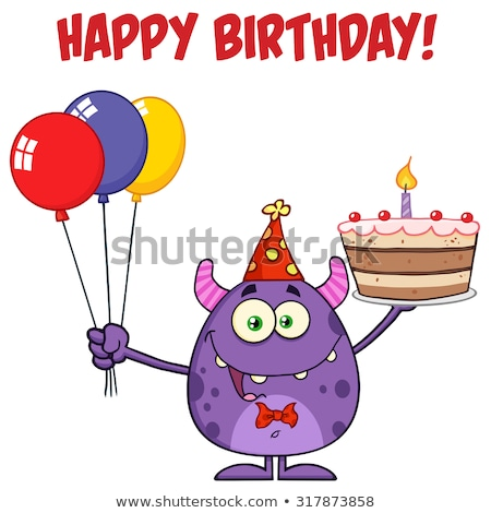 Cute Monster Holding Up A Colorful Balloons And Birthday Cake Stock photo © hittoon