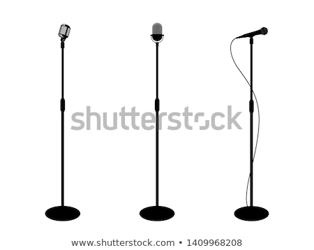 Retro · Metal · mikrofon · durmak · vektör · krom - stok fotoğraf © pikepicture