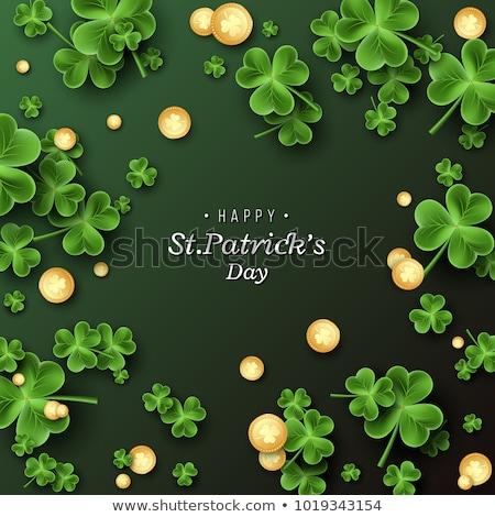 клевера листьев монетами День Святого Патрика счастливым Сток-фото © SArts