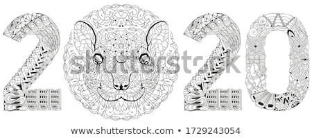 стилизованный крыса числа рисованной кружево футболки Сток-фото © Natalia_1947