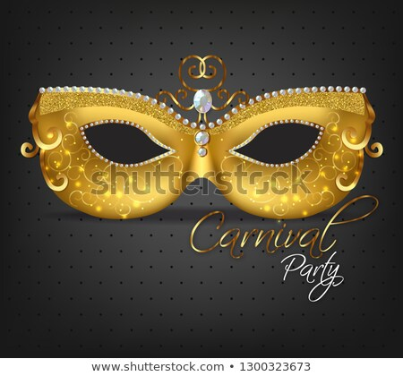 Carnival golden glitter mask Vector realistic. Stylish Masquerade Party. Mardi Gras card invitation. Stock photo © frimufilms