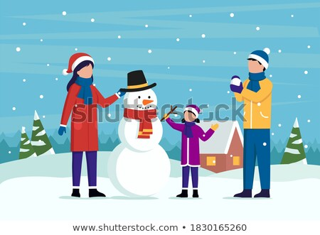 Wintertime Activity Pastime of Mother and Child Stock photo © robuart