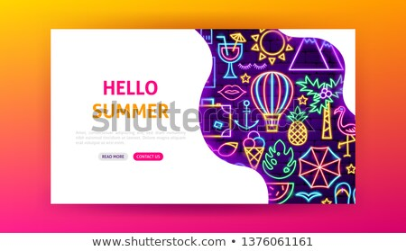 Hello Summer Neon Landing Page Stock photo © Anna_leni