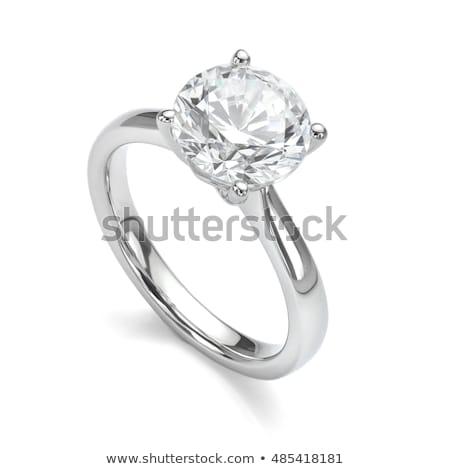Ouro anel de noivado isolado branco jóias Foto stock © MarySan