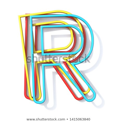 three basic color wire font letter r 3d stock photo © djmilic