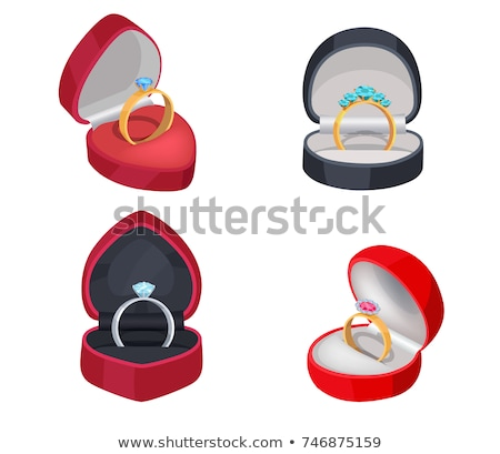 Jewelry Golden And Silver Ring In Red Box Vector Stock photo © pikepicture