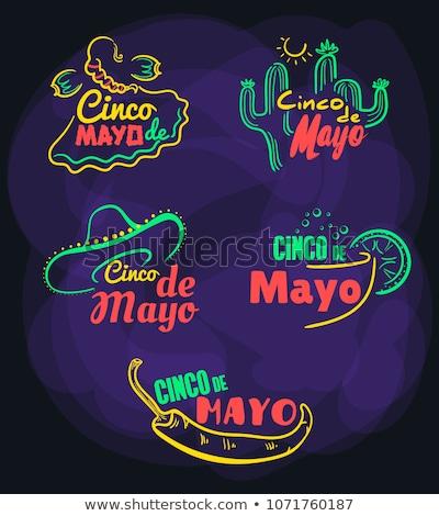 Sombrero Cinco De Mayo Chili Labels Cocktails Stock photo © limbi007