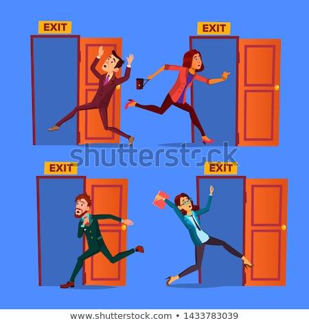 Stok fotoğraf: Karakter · kapıyı · açmak · çıkmak · ayarlamak · vektör · toplama