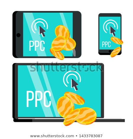 Ppc Pay Per Click Device And Coins Set Vector Stock photo © pikepicture