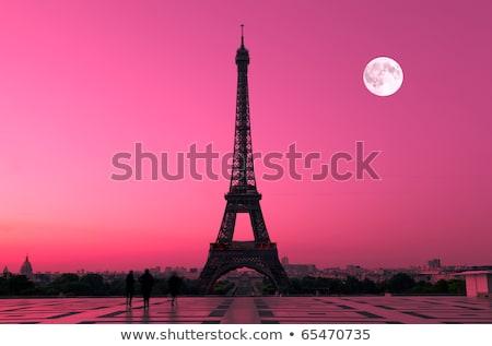 Eyfel Kulesi ay görmek nehir gündoğumu Paris Stok fotoğraf © Givaga