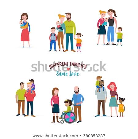 Homoszexuális család különböző családok fogyatékos gyerekek Stock fotó © marish