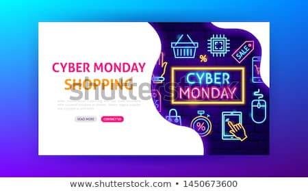 Cyber Monday Shopping Neon Landing Page Stock photo © Anna_leni