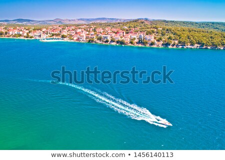 brodarica village on adriatic sea aerial waterfront view stock photo © xbrchx