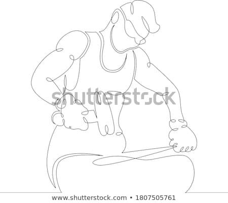 Kovács kalapács vonal illusztráció fogó üllő Stock fotó © patrimonio