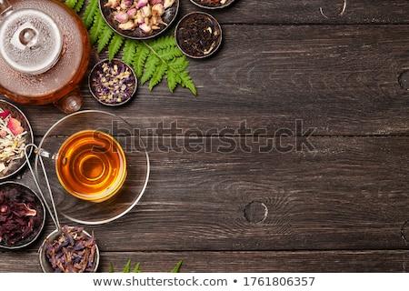 Stock fotó: Teáskanna · csészék · gyógynövény · tea · mintázott · asztal · japán · étel