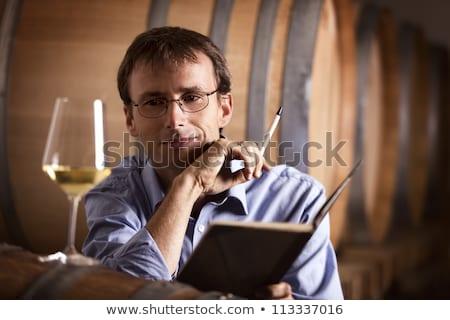 見える ガラス 白ワイン 笑みを浮かべて ストックフォト © lichtmeister