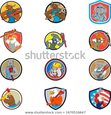 loodgieter · mascotte · cirkel · cartoon · ingesteld · collectie - stockfoto © patrimonio