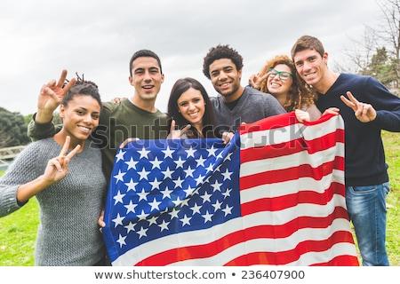 mulher · bandeira · americana · patriótico · férias · feliz · mulher · jovem - foto stock © dolgachov