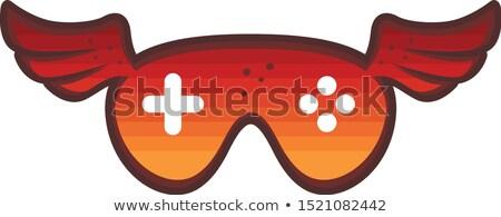Piros szárny játék konzol logo ikon Stock fotó © vector1st