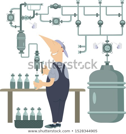 Pipe construction and a worker bottles a beverages illustration  Stock photo © tiKkraf69