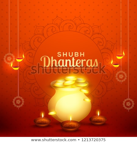shubh dhanteras festival card with gold coin kalash Stock photo © SArts