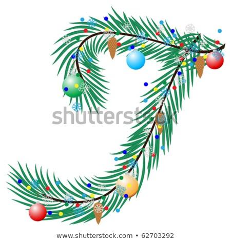 T betű karácsonyfa díszek fekete zöld tél Stock fotó © grafvision