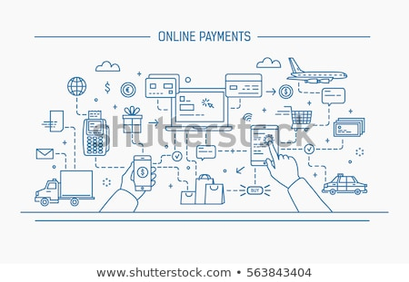 Online taxi betaling icon vector dun Stockfoto © pikepicture