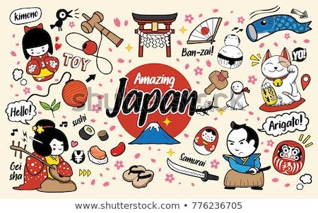 Cartoon garabatos Japón alimentos ilustración monocromo Foto stock © balabolka
