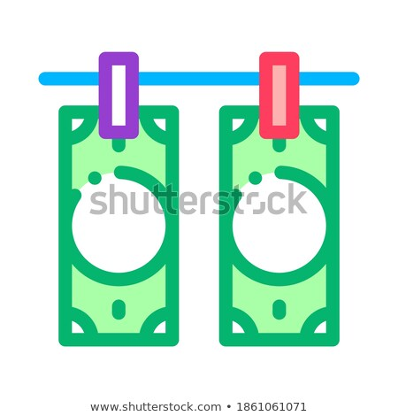 Stock fotó: Drying Fake Banknotes Icon Vector Outline Illustration