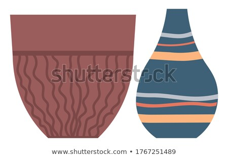 Pottery Container with Wavy Lines, Isolated Vessel Stock photo © robuart