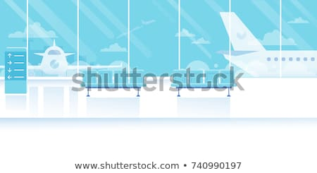 Modern airport waiting hall interior with empty chairs. Stock photo © artjazz