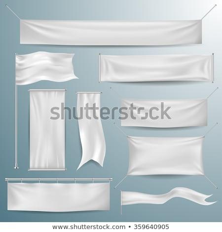 Téglalap zászló szalag 3d illusztráció izolált fehér Stock fotó © montego