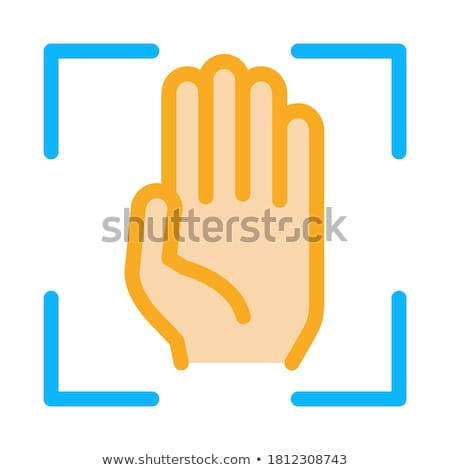 Person Handprint Scan Icon Vector Outline Illustration Stock photo © pikepicture