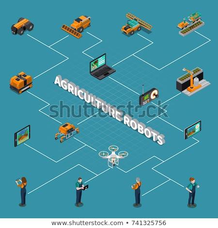 Wektora izometryczny rolniczy robot szklarnia nowoczesne Zdjęcia stock © tele52