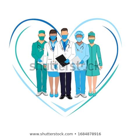 Set of characters of doctors in overalls. Thanks to the doctors Stock photo © bedlovskaya