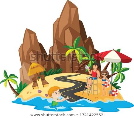 Oceaan scène jongen zwemmen badmeester wal Stockfoto © bluering